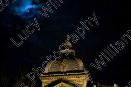 romania-9610   Roof of the Bucharest Savings Bank at night, Romania   Keywords: Romania, Bucharest, Savings Bank, bank, cloudy, dark, moon, night, building, ornate, europe, eastern europe, horizontal, colour, architecture, bucuresti, famous, historic, history, monument, old
